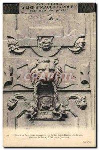 Old Postcard Museum of Sclpture Comparee Church St. Maclou Rouen Door knocker...