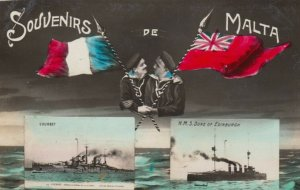 RP: MALTA , 00-10s ; Warships Courbet & H.M.S. Duke of Edinburgh