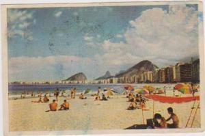 Bathers on Copacabana Beach by Hotels & Mountain, Rio de Janeiro, Brazil 1955