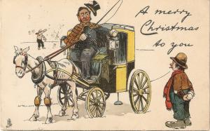 Man greeting Christmas to hrse carriage  Tucl Wite Away Christmas PC # 1795