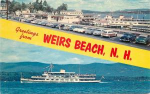 Auto Weirs Beach New Hampshire Mount Washington 1950s Woody Wagon Postcard 4721