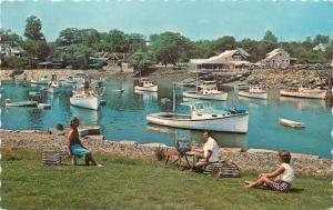 Perkins Cove ME~Artist At Work~1950s~Yachts, FishingcBoats~Deckled Postcard