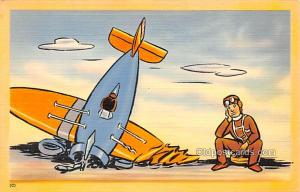 Military Comic Postcard, Old Vintage Antique Post Card Crashed Plane Unused