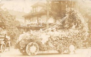 Portland Oregon~Portland Rose Festival-Girls on Floral Parade Float~1914 RPPC