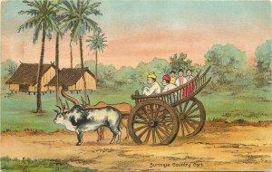 Burma Myanmar burmese oxen team country cart early postcard