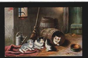 077121 Family Funny PUSSY CAT Kittens by SCHONIAN Vintage FED