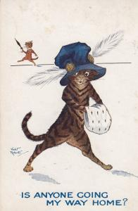 Is Anyone Going My Way Home Cat Hitcher Fashion Violet Roberts Postcard