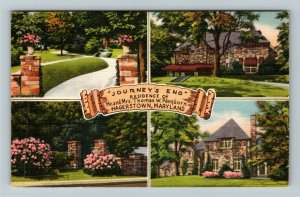 Hagerstown MD-Maryland, Residence Thomas Pangborn, Journey's End Linen Postcard