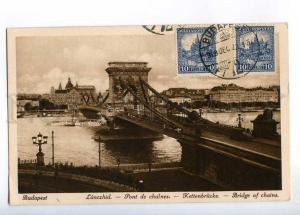 236428 HUNGARY BUDAPEST bridge of chains 1928 RPPC Ethiopia