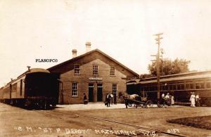 MAZOMANIE, WISCONSIN CHI, MILW. & ST. PAUL TRAIN DEPOT RPPC POSTCARD REPRINT