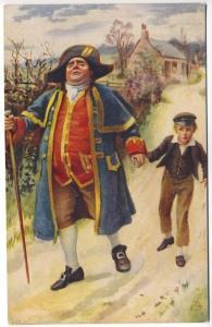 Raphael Tuck Man in Colonial Hat Walking with Boy Dickens Series Postcard