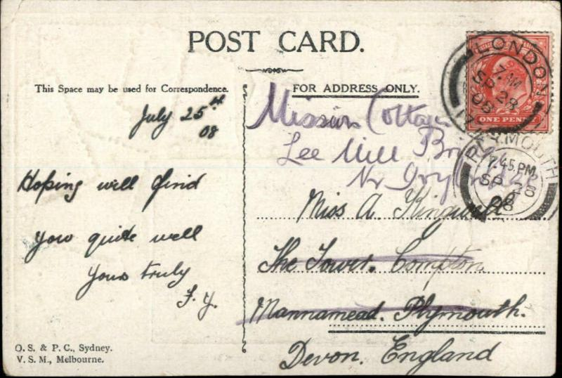 Brisbane Australia Victoria St. Postage Stamp Border c1910 Postcard