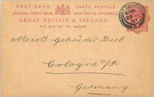 Entier Postal Stationery 1p Nottingham in 1907 for Cologne Koeln