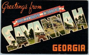 Vintage SAVANNAH MILITARY CAMPS Georgia Large Letter Postcard WWII Linen 1941