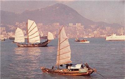 HONG KONG View of the Harbor CHINA Boats TWA c1960s Vintage Postcard