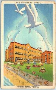 Virginia Beach Postcard THE PINEWOOD HOTEL Building Seagulls Artist's View Linen