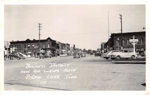 Storm Lake Iowa~Lake Ave Service Stations~Standard Oil~D-X~Nice Cars~1950s RPPC