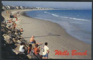Wells Maine People on Beach Ocean View Vintage Postcard