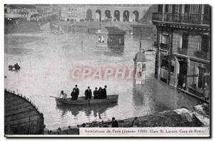 Old Postcard Paris Floods in January 1910 Flood of the Seine Saint Lazare sta...