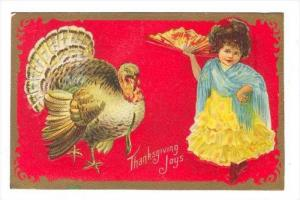 Thanksgiving ,  Girl & turkey , PU-1910