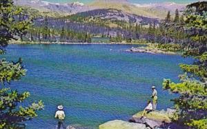 Wyoming Fishing At East Tensleep Lake At Foot Of Sugarlope Mountain