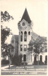 D46/ Fort Riley Kansas Real Photo RPPC Postcard c40s Clock Tower School Center