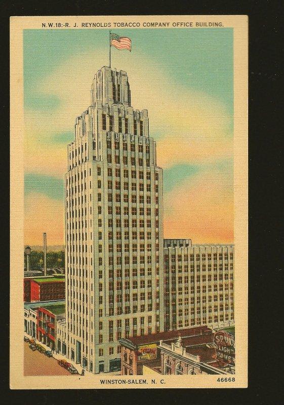 USA RJ Reynolds Tobacco Company Office Building Winston Salem NC Linen Postcard