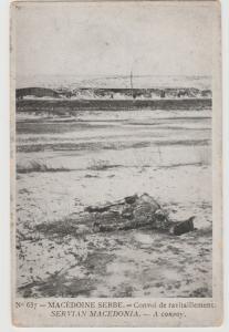 WW I RARE Macedonian Front World War I Postcard Artillery Convoy Postcard