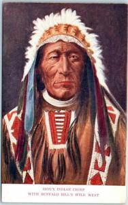 c1900s BUFFALO BILL'S WILD WEST Postcard Sioux Indian Chief Native Americana