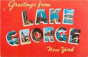 Lake George NY~Large Letter Chrome~Queen Of American Lakes~Greetings~1950s