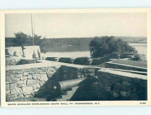 Pre-1980 SOUTH WALL WITH CANNON Fort Ticonderoga New York NY hn5872