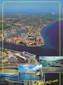 Aerial View & 3 water front views, Curacao, Netherlands Antilles, 50-70s