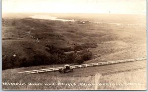 Chamberlain South Dakota RPPC Real Photo Postcard Missouri River & Bluffs 1933