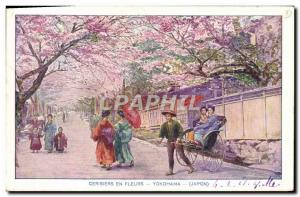Old Postcard Japan Nippon Cherry blossoms Yokohama