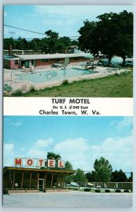 Postcard WV Charles Town Turf Motel Vintage 2 View (doesn't look like this now)