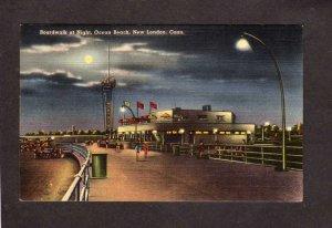 CT Night View Boardwalk Ocean Beach NEW LONDON Connecticut Postcard Moonlight