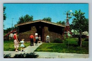 Minden NE- Nebraska, Sod House, Pioneer Village, Chrome Postcard