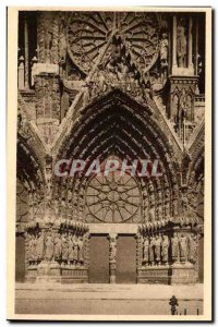 Old Postcard Reims cathedral's main portal