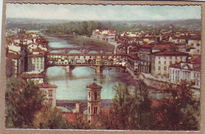 P1328 nice vintage art postcard unused lung arno points bridges view town italy