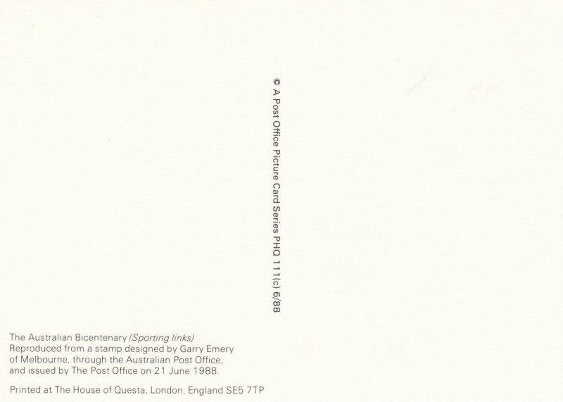 Australian Bicentenary Stamp postcard 34p