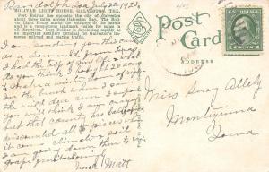 Galveston Texas~Bolivar Light House~Houses Behind~Picket Fence~1928 Postcard