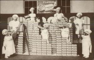 Krispy Crackers Food Adv Little People Dwarfs Midgets Bakers Postcard