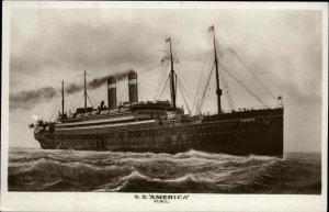 United States Line Steamship SS American USL Real Photo Postcard c1910