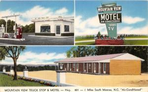 B55/ Monroe North Carolina Postcard 3View Gas Station Mountain View Truck Stop