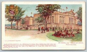 St Louis Missouri~1904 World's Fair~US Government Building~Regal Shoe Adv PC