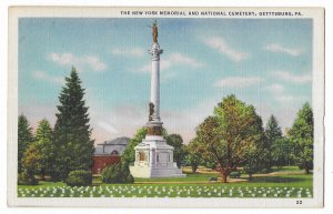 The New York Memorial & National Cemetery, Gettysburg Pennsylvania, unused linen