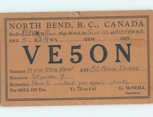 1930s QSL RADIO CARD North Bend - Near Keefers & Yale & Hope BC AH3147