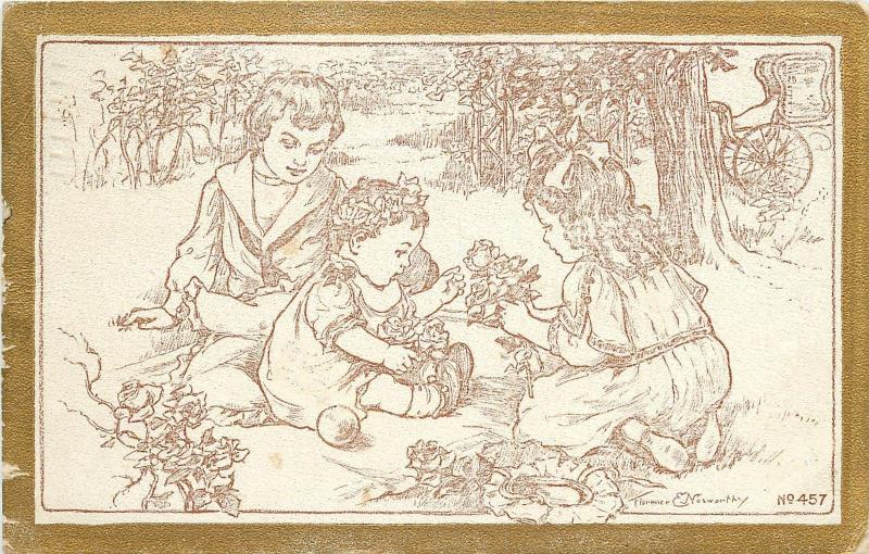 c1910 Postcard 457; Children Playing w Flowers, A/S Florence E. Nosworthy Posted
