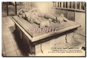 Postcard Ancient Church of Souvigny Louis Tomb II Duke of Bourbon and & # 39A...