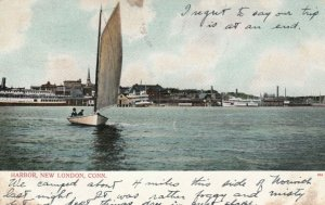 NEW LONDON , Connecticut , 1901-07 ; Harbor, Sailboat